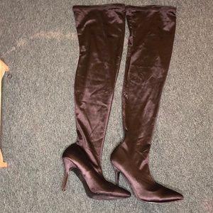 Shoes - Black AMI Clubwear Thigh high boots size 11